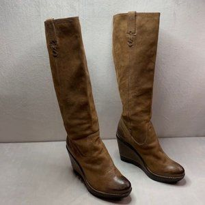 Frye Paige wedge X stitch brown knees high boots 7